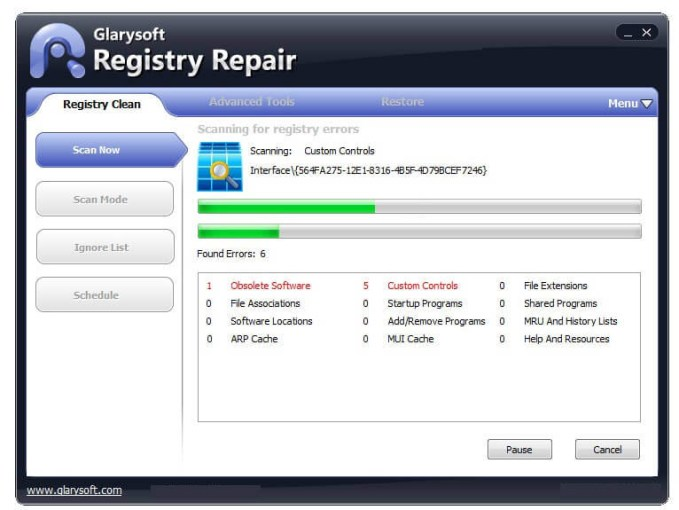 Glary Registry Repair windows