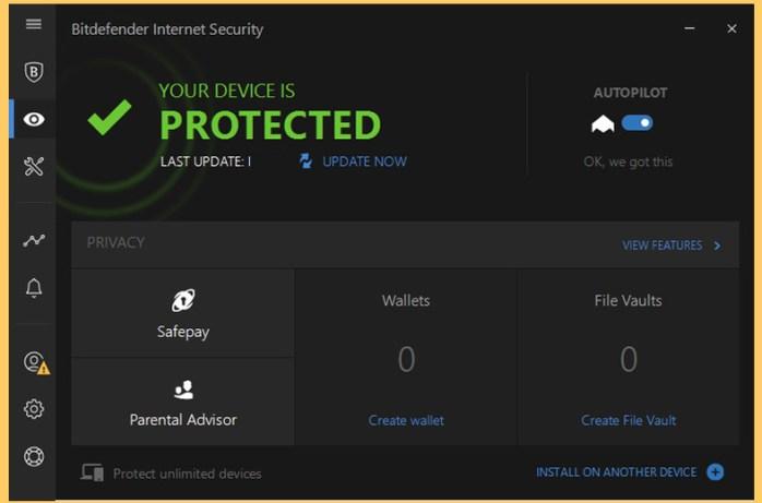 BitDefender Internet Security windows