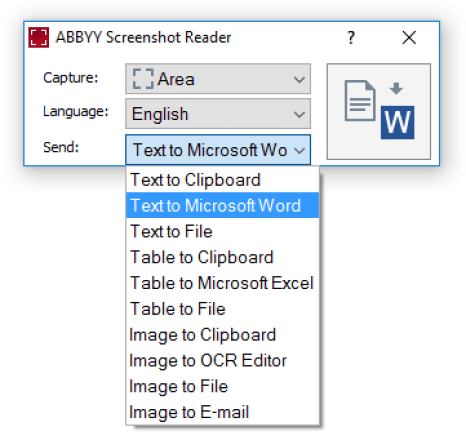 ABBYY Screenshot Reader Windows