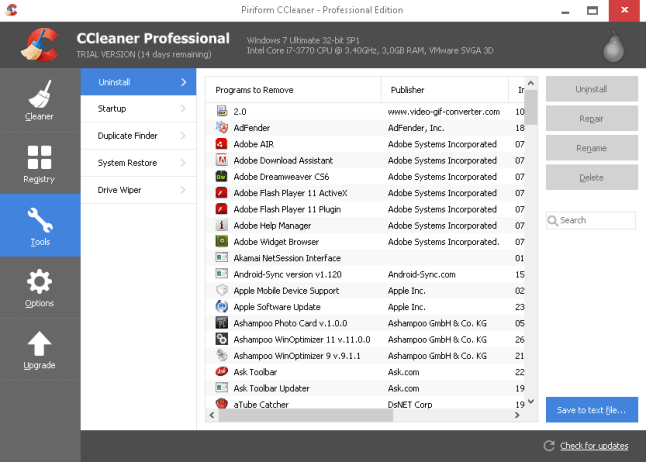 CCleaner Professional windows