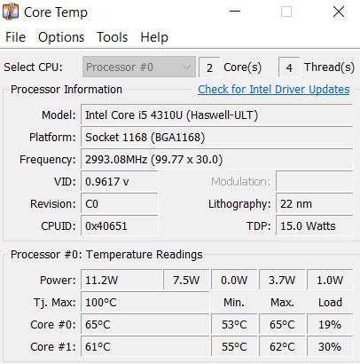 Core Temp windows