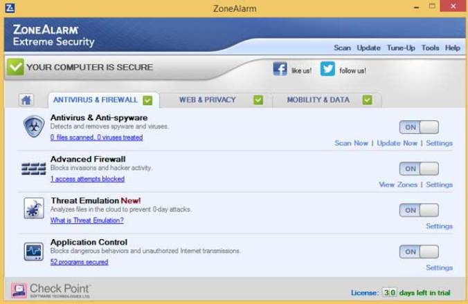 ZoneAlarm Extreme Security latest version