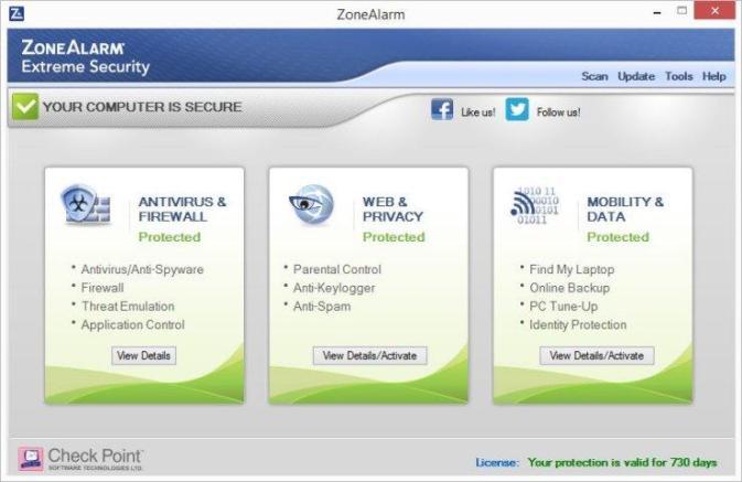 ZoneAlarm Extreme Security windows