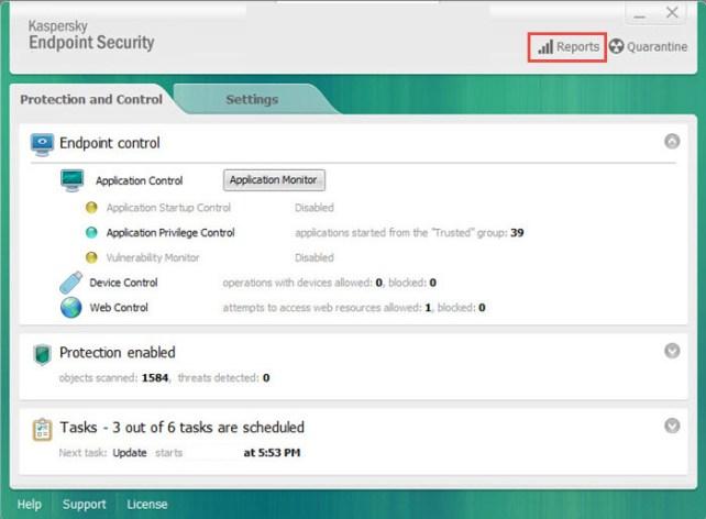 Kaspersky Endpoint Security windows