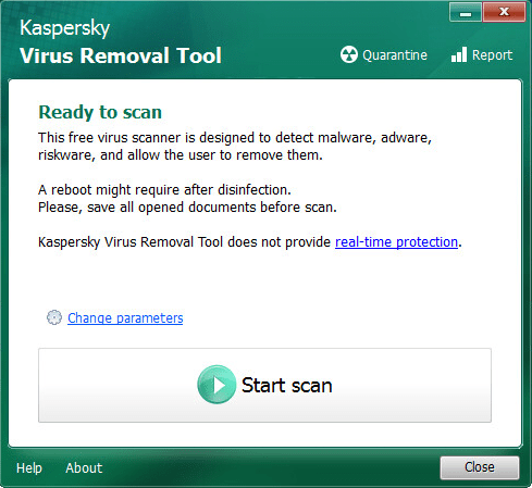Kaspersky Virus Removal Tool windows