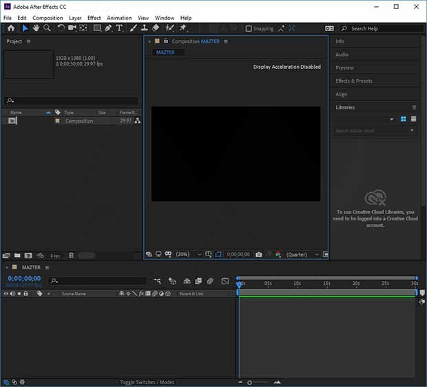 Adobe After Effects CC windows