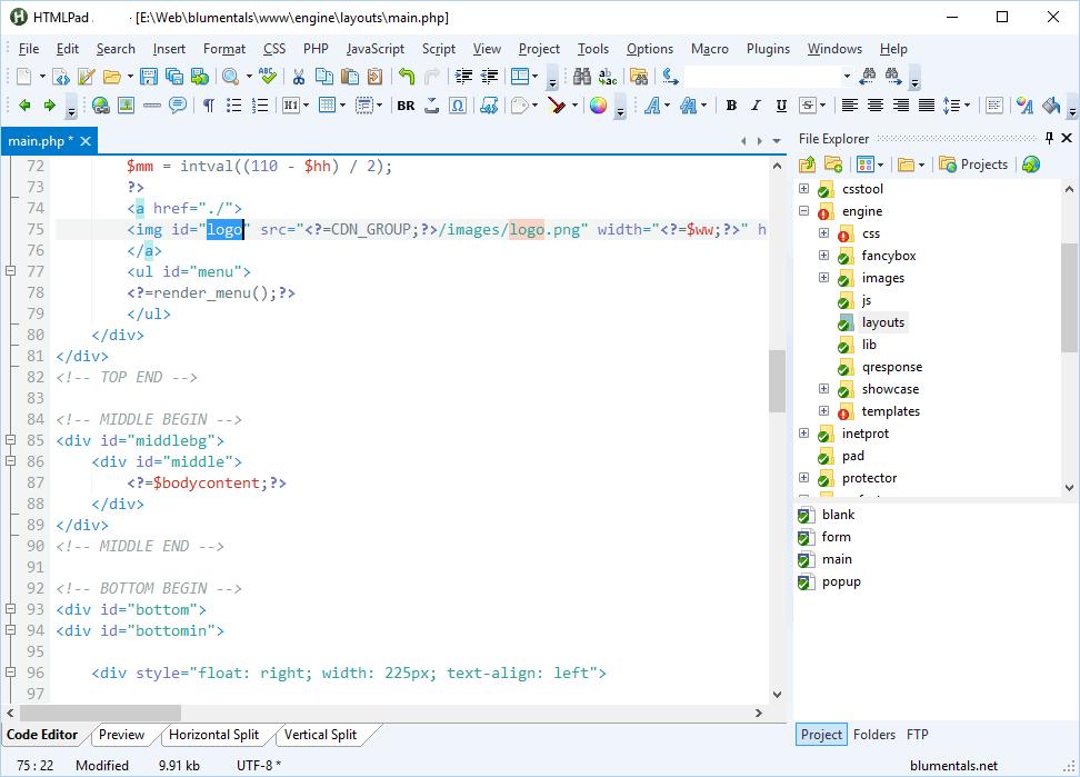 HTMLPad windows