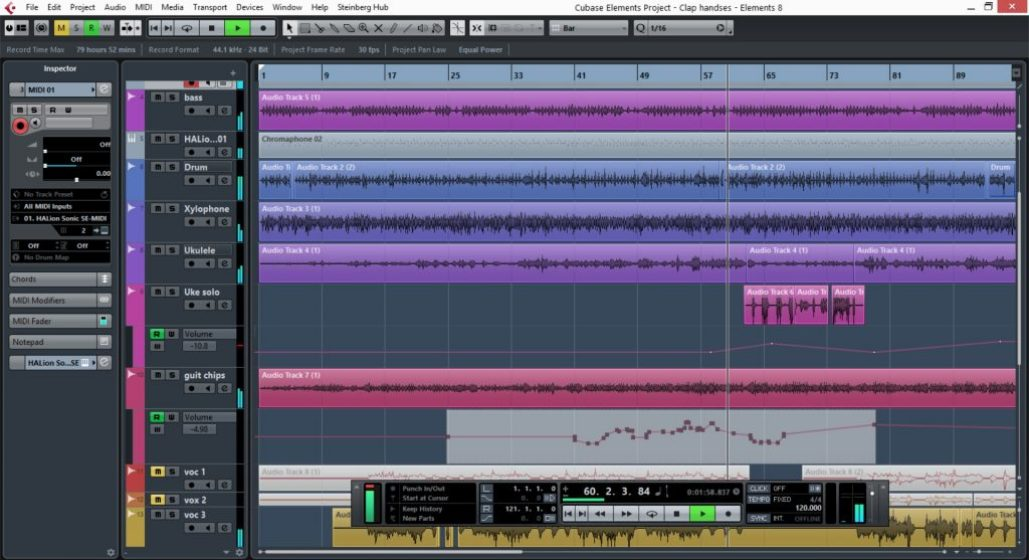 Cubase Elements windows