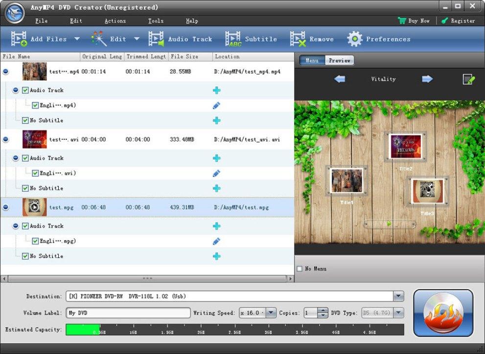 AnyMP4 DVD Creator windows