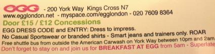 Egg Dress Code