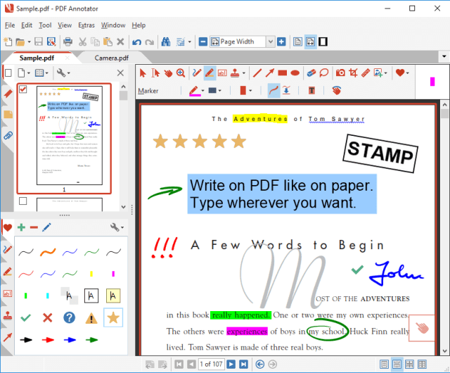 PDF Annotator Key Features: Make a short comment on a long document Fill in or sign a form or agreement, and return it by email Proofread, review and correct a document right on your screen Make notes and drawings right on the pages Illustrate your ideas and suggestions Grade student papers right on your PC, laptop or Tablet PC Get a quick overview of all annotations in a document. Navigate to any annotations quickly. Perform operations on any selection of annotations. Only display a filtered subset of your annotations in the new Annotations sidebar. Filter by type, color, or page number. Print a detailed list with small previews of every single annotation in a document. Print an overview only outlining the pages containing annotations.