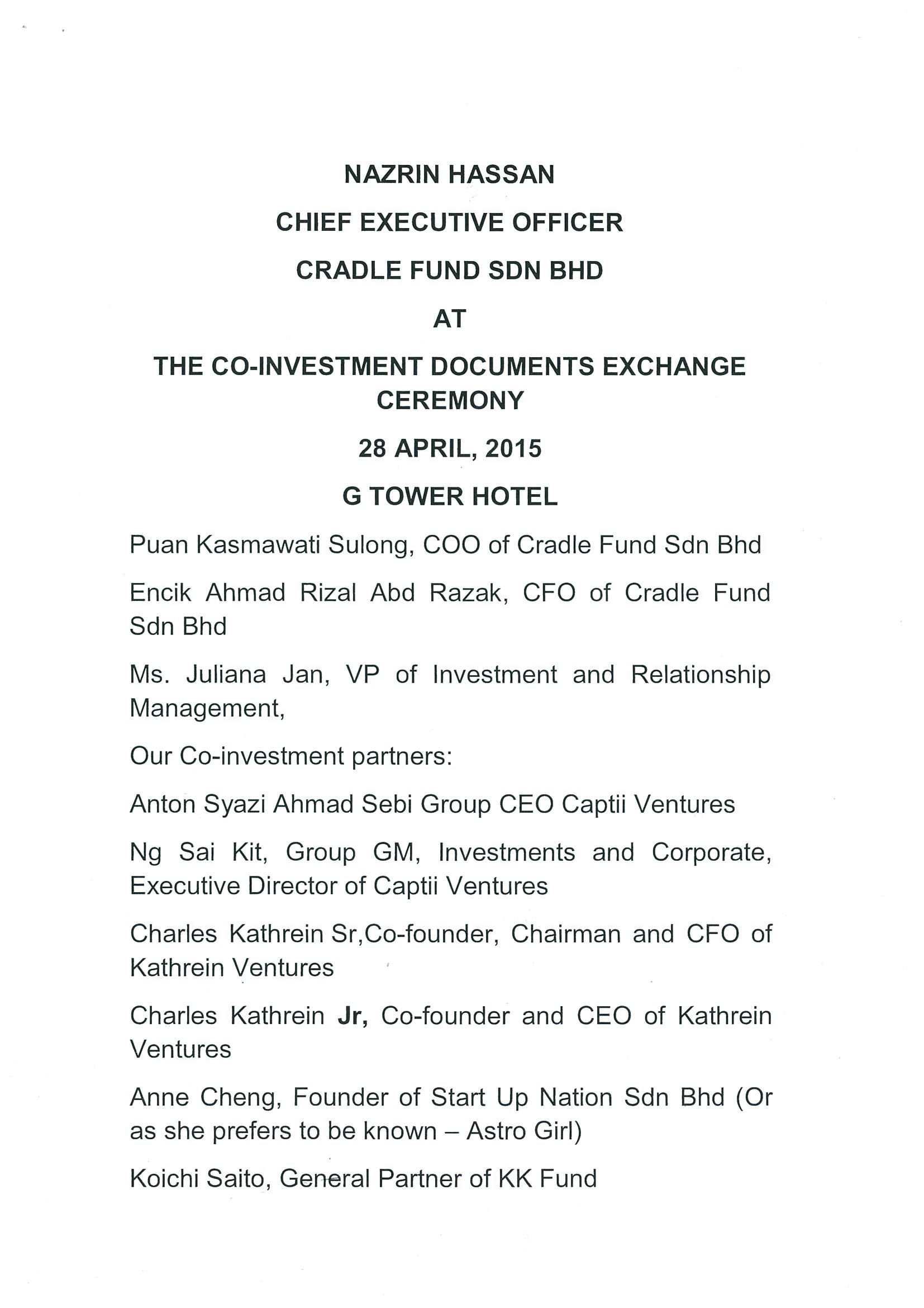 Ceo S Speech At Co Investment Agreement Documents Exchange