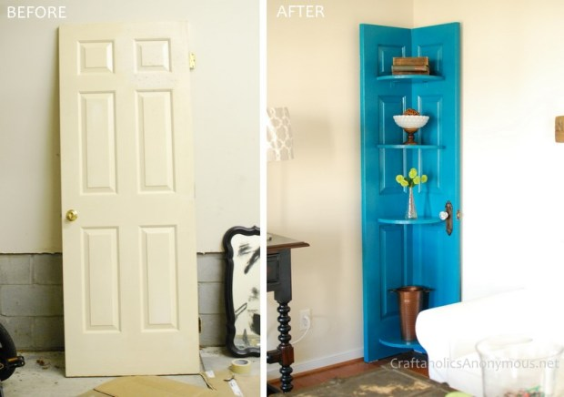 Recycle an old door into a beautiful corner shelf.