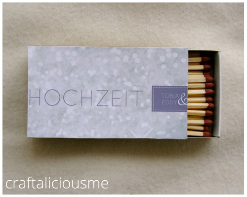 DIY match box wedding favors