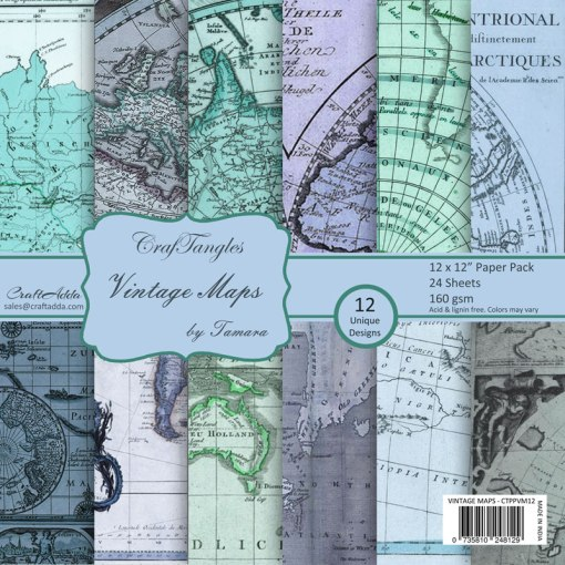 CrafTangles Scrapbook Paper Pack     Vintage Maps  12   x12     CrafTangles