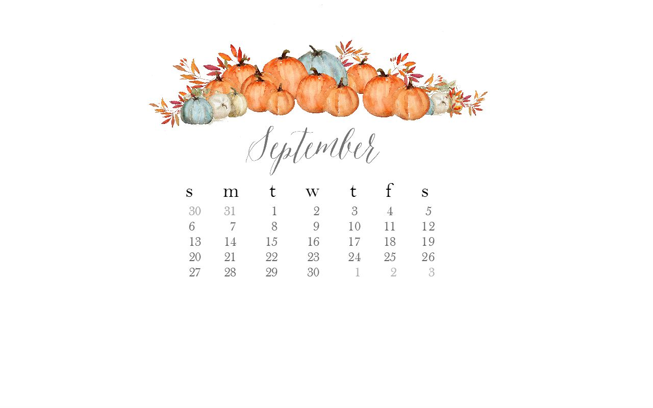 Free September Desktop Watercolor Calendar