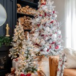 White And Burgundy Flocked Christmas Tree