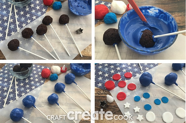 Red, White, and Blue Cake Pops