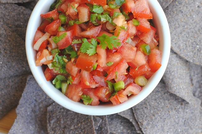 This easy homemade salsa is bright, fresh, easy to make and delicious!