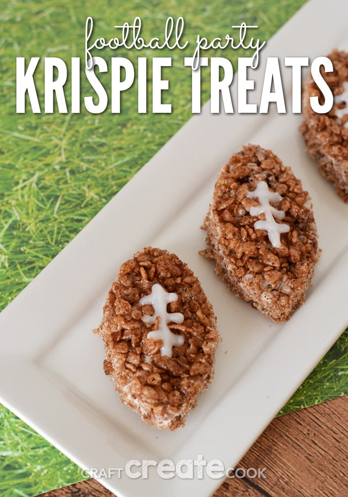 These football party rice krispie treats are perfect for making for your own family or to take to the next big game party you get invited to.