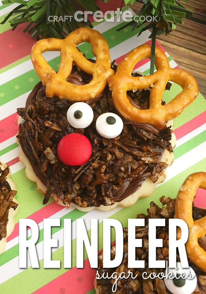 If your looking for a fun and festive Christmas cookie, you'll love these Reindeer Sugar Cookies.