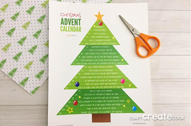Printable Christmas Tree.Craft Create Cook Printable Christmas Tree Advent Calendar