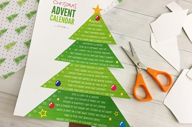 picture relating to Printable Christmas Calendar referred to as Printable Xmas Tree Arrival Calendar - Craft Produce Cook dinner