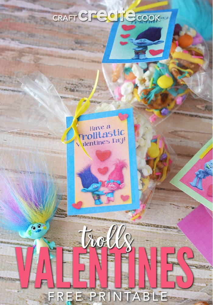 This Troll Valentine Snack Mix will be a BIG hit at this year's classroom parties!