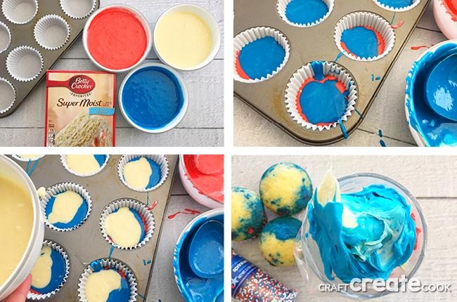 Easy American Flag Cupcakes