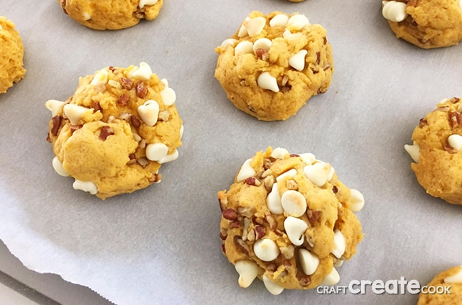 These Soft and Chewy Loaded Pumpkin Cookies are perfect with a cup of coffee on a chilly fall day.