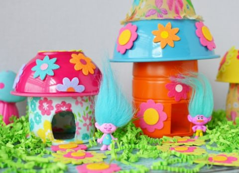 Make your own troll house using plastic recyclables and a few dollar store finds!