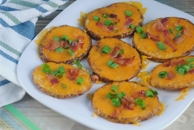 Loaded Potato Slices are the perfect appetizer or snack for game day!