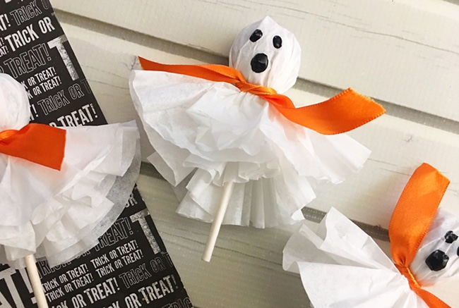 These Coffee Filter Ghost Suckers are so easy to make and great for Trick-or-Treaters.