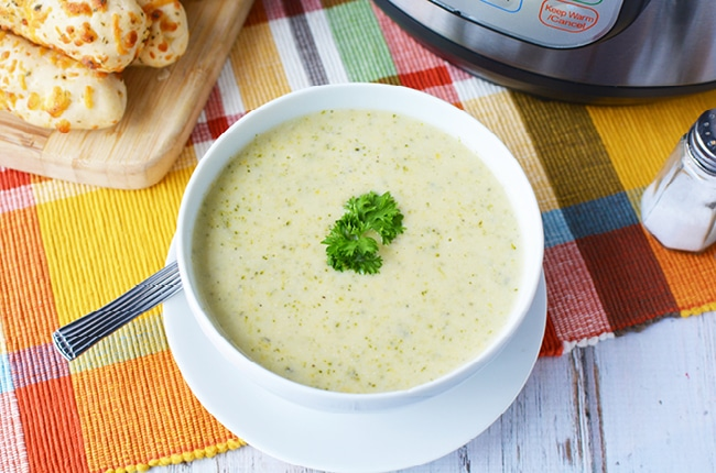 This instant pot broccoli cheese soup is creamy and so good you'll want to double the recipe!