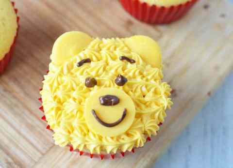 Inspired by the movie Christopher Robin, these Winnie the Pooh cupcakes are easy to make with the whole family.