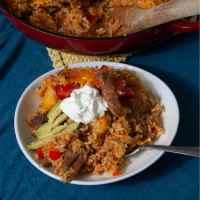 Cheesy Beef Fajita Dirty Rice Casserole