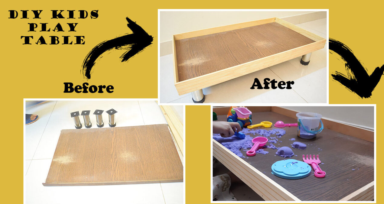 Kids' Play Table under dollar 10 – Wood upcycle project