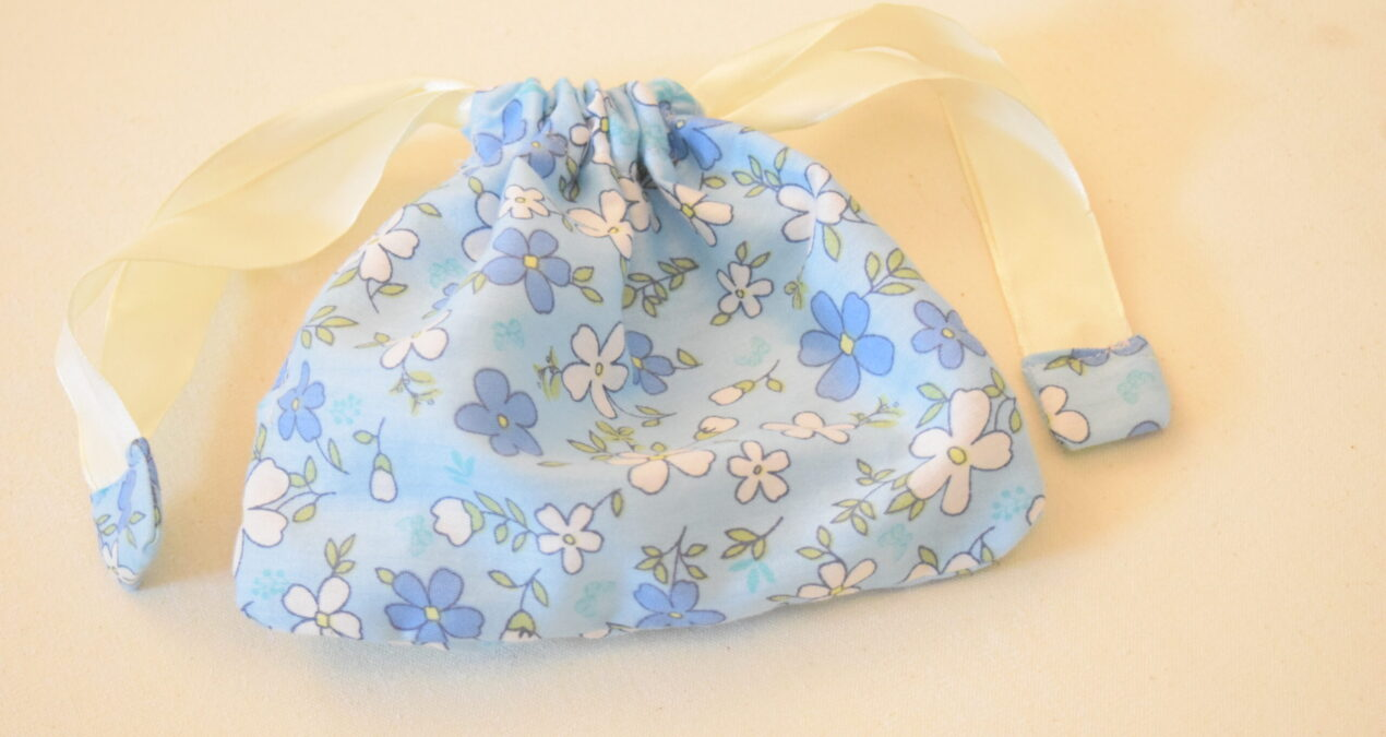 Fabric Mask Case\ Pouch with Drawstring- Blue