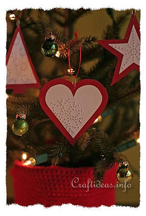 Christmas Paper Craft Red And White Needle Pricked Paper