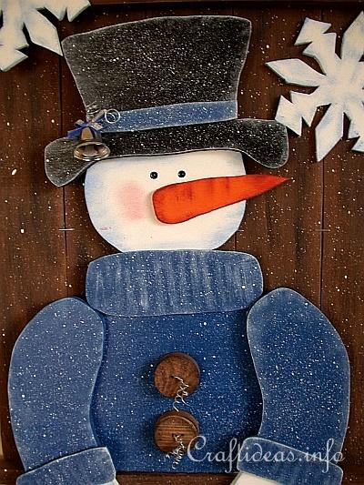 Christmas And Winter Woodcrafts Snowman Wall Decoration