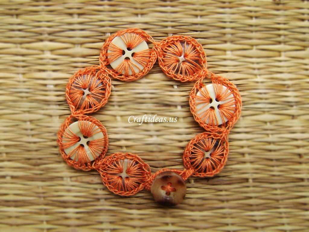 Crochet Buttons Bracelet Tutorial Craft Ideas