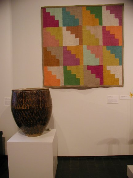 Jim Bassler, Discontinuous II, 2006; Mark Hewitt, Large Planter: Flaming Triangles, 2005 at the Fuller Craft Museum
