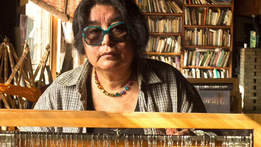 Consuelo Jimenez Underwood at the loom. Mark Markley photograph