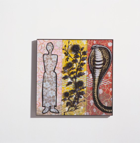 Garden of Eden/Paradise I, 2004. Enamel fired on glass, found metal, mixed media on wood panels, Kim Stephenson photograph