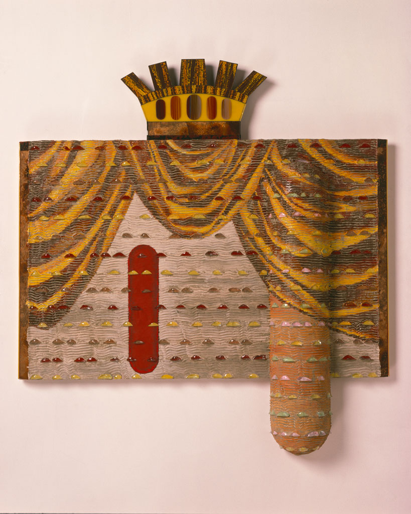 Who's the Lead, Rex, 1989. Glass, wood, paint, hard foam, 46 x 42 x 6, Collection of Susan Steinhauser and Daniel Greenberg, Rob Brown photograph