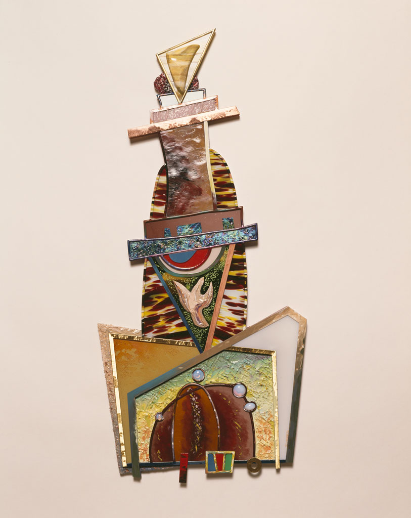 Tower of Multiple Nonfunctions, 1985. Glass, paint, modeling paste, jewels, brass, copper, zinc, lead, wood, 38 x 17, Lone Star Silver Studio photograph