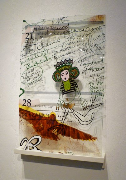 T.G.I.F./April, Calendar Notations, 2005. Enamel fired on glass, wood support, 30 x 19 x 4