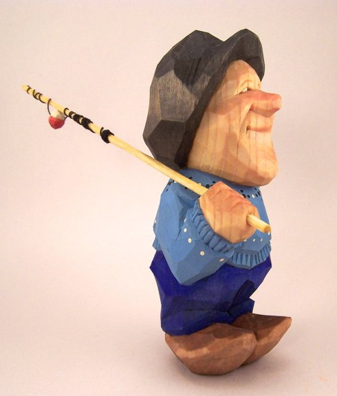 Harley Refsal, Going Fishing, 2013, wood sculpture figurine