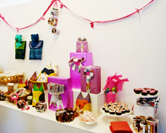 Display of the beautiful things we created that day, and our edible treats we enjoyed while crafting!