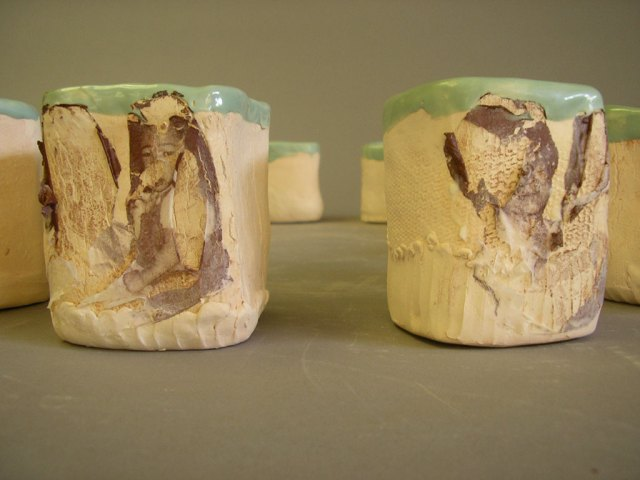 Denise Kang, Memory Cups, 2006. B-Mix Clay, low fire glaze with decal, Karen Koblitz photograph